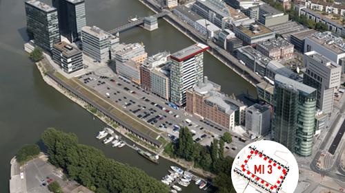 Luftbild MedienHafen, Baufeld MI 3at